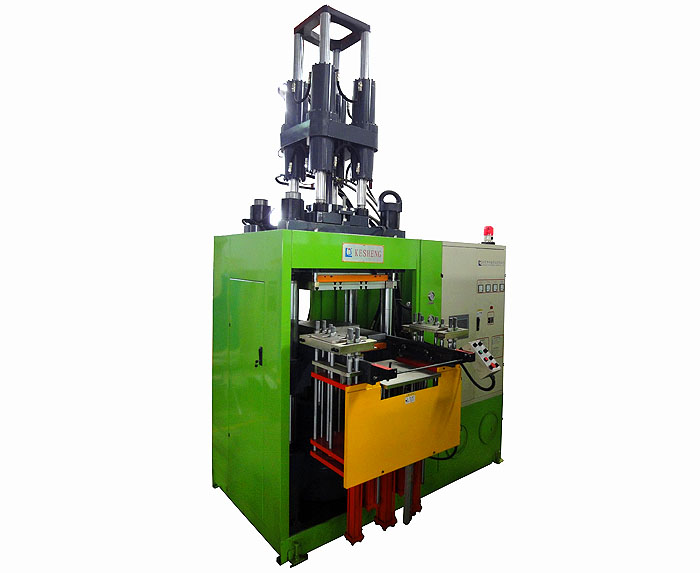 First in first out vertical rubber injection molding machine